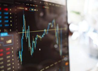 Financial chart on a black screen