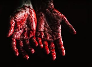 two bloody hands